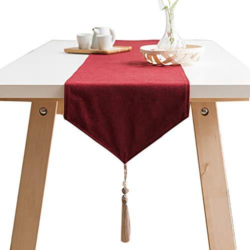 WYQ Baumwollleinwand roter Tischläufer mit Quasten, Vintage Design Dekor ideal für Familienessen, Versammlungen, Partys, alltäglichen Gebrauch 6 Größen erhältlich Table Runner