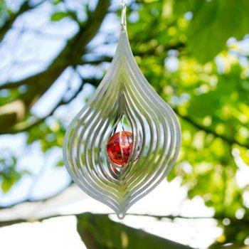 Edelstahl Windspiel – TROPFEN 170 – rostfreier Edelstahl – Abmessung: 10,5x17cm, Kugel: Ø3cm – inkl. Aufhängung und Glaskugel - 4