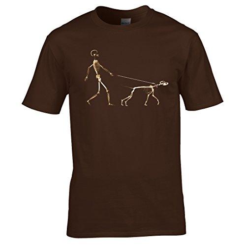 Skelett hund walkers urbane kunst T-shirt Schokobraun