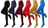 HeyUU Bunte Damen Semi-blickdichte Strumpfhose in 12 Farben 80 DEN (Schwarz, Rot, Burgundrot, Senfgelb, Dunkelblau, Königsblau)