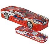 Innovative Car Shape Cartoon Printed Metal Pencil Box With Small Car For Kids (CAR Spider Man)
