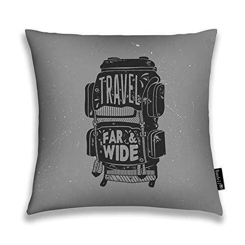 Randell Decorative Throw Pillow Case Travel Far Wide Retro Silhouette Rucksack Cushion Cover Square 18 X 18 Inches -