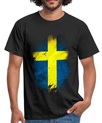 Spreadshirt Schweden Flagge Männer T-Shirt, XL, Schwarz