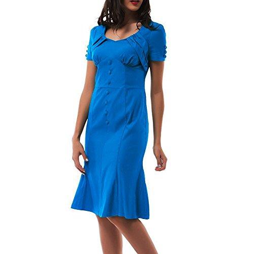 WintCO Femme Robe Crayon Moulante Rétro Manches courtes Plusieurs couleurs Robe de Soirée Cérémonie Cocktail Voyage Bleu