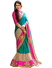 Febo Women's Silk & Georgette Saree With Blouse Piece (1056_Pramukh_Pink & Firozi)