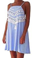 X-Future Women Spaghetti Strap Tassel Splicing Loose Slip Dress Blue US L
