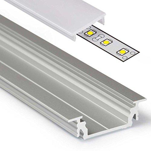 2m Aluprofil GROOVE14 (GR14) Aluminium Profil-Leiste eloxiert für LED Streifen - Set inkl Abdeckung-Schiene mit Montage-Klammern, Endkappen -