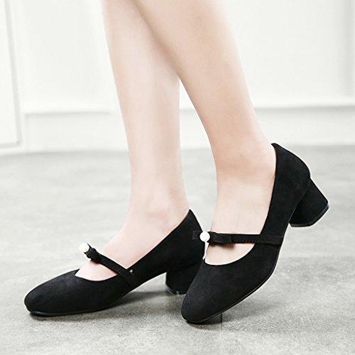 Mouth Color taille talons HWF Simple Femmes Printemps Couleur Casual Chaussures hauts à Shallow femme Apricot Noir Femme Chaussures Chaussures Retro 40 qqB0TCw