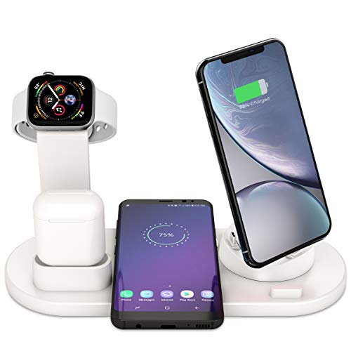 Bestrans Supporto Caricabatterie Wireless 6 in 1, Caricatore Stand per Apple Watch 4/3/2/1 (Bianco)