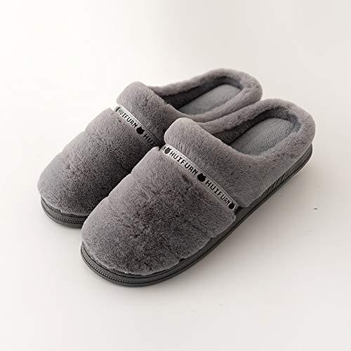 OMFGOD Slippers Frauen Männer Baumwolle Hausschuhe Winter Home Innen Warm Non-Slip Soft Komfortable Silent Boden- Liebhaber Schuhe, 42-43, Tief Grau Ribbon