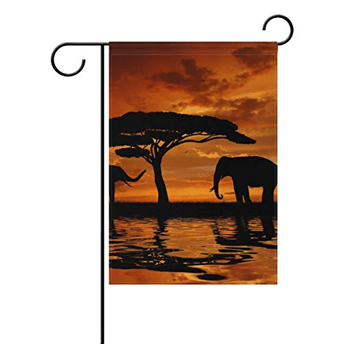 FANTAZIO Banderas de jardín diseño de Elefantes y baobabs africanos en el...