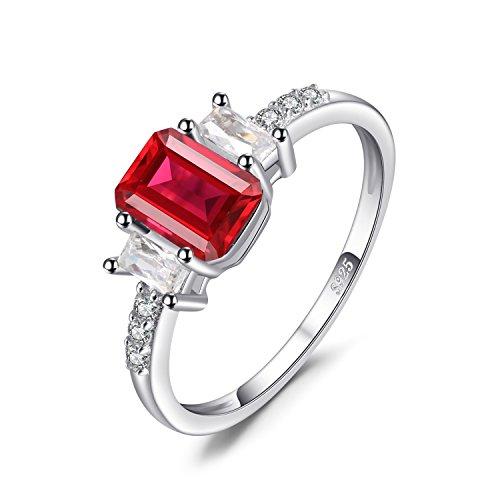 JewelryPalace Moderne 4.1ct Emeraude-coupe Rouge Rubis de Synthèse Anniversaire Fiançailles Engagement Bague en Argent 925