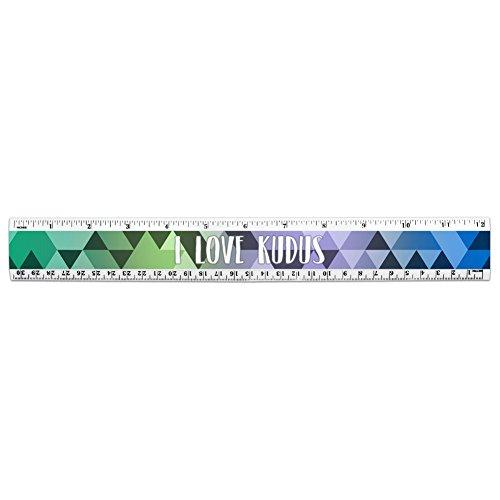 I love Herz Tiere k-o 30,5cm Standard und metrisches Kunststoff Lineal Kudus