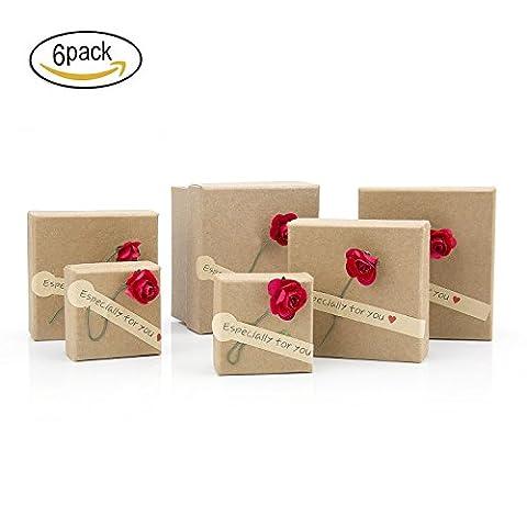 ZeWoo Lot de 6 boîtes à cadeaux, Papier Kraft rétro fait à la main Fleurs séchées Boîtes décorées, Pendentif Boucles d'oreilles Bracelet Montre Boîte à bijoux, Noël, Anniversaires, Vacances, Graduations, joli cadeau Boîtes Cadeaux de marriage (Little rose)