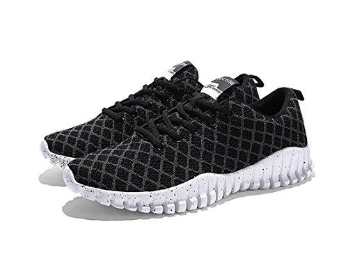 Jedvoo Chaussures de sport Running Course Compétition chaussures de loisirs mixte adulte noir/gris