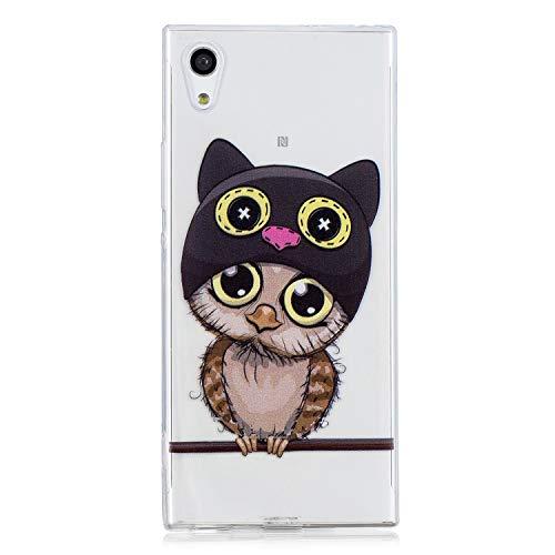 Kihying Hülle Für Sony Xperia XA1 / Z6 (5,0 Zoll) Hülle Schutzhülle Gemalt Stoßfest Transparent Weiches TPU Silikon Telefonkasten (HX70-Eule)