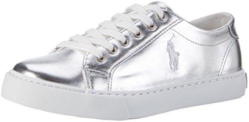 Ralph Lauren M盲dchen Slater Sneaker Silber (Silver Metallic W/ white pp)