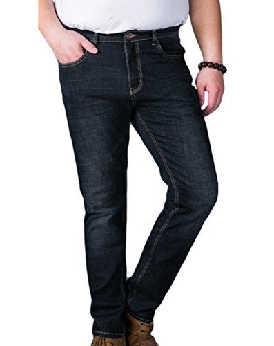 Heheja Herren Denim Hose Schlank Übergröße Jeans Stretch Jeanshosen Straight Fit Schwarz