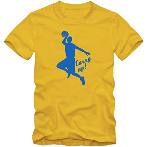Stephen Curry Up #1 Maglietta | Uomo | T-Shirt | Hurry Up | NBA | Adult Homme | GSW | Basketball | Cotone | Manica Corta, Colour:yellow (gold);Taglia:XX-Large