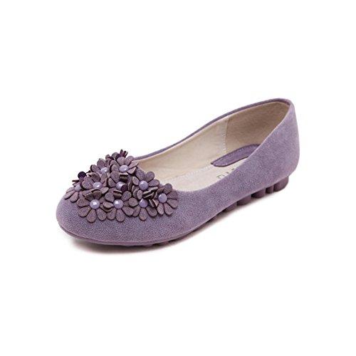 Moderna scarpa nabuk cuoio volumi scarpe luce fiore/[Piatto con scarpe morbide]/ tondo testa scarpe basse/ morbide scarpe piano-A Longitud del pie=22.3CM(8.8Inch)