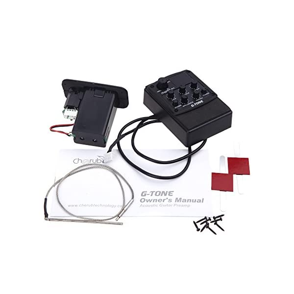 ammoon 3-Band Chitarra Effetto Pedale Preamplificazione Piezo Pickup LCD