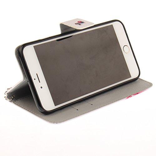 PU für Apple iPhone 6 Plus (5.5 Zoll) Hülle Case Tiere Landschaft Hülle für-Apple iPhone 6 Plus (5.5 Zoll) Leder Handyhülle Brieftasche Book Type PU Leder +TPU Innere Tasche Bunt Gemalt Magnetverschlu 7
