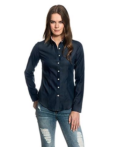 EMBRÆR Women's Blouse Modern Fit Long Sleeve Shirt Patterned,darkblue,8