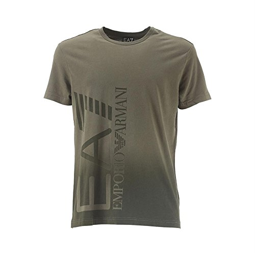 EA7EMPORIO ARMANI Felpa uomo 6x ptb8girocollo T-Shirt con logo grande, Olive Green, XXL