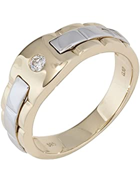 JOBO Herren Ring 585 Gold Gelbgold Weißgold bicolor 1 Diamant Brillant Diamantring