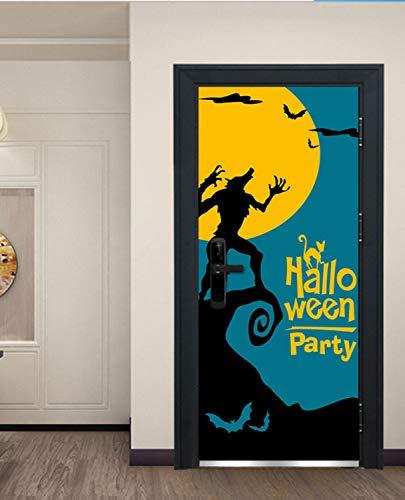 zoomingmingli Werwolf Bad Moon Tür Aufkleber Festival Wand Tür Aufkleber Halloween Neue Dekorative Kinder Schlafzimmer Dekorative Cartoon Aufkleber