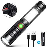 LED Taschenlampe USB Wiederaufladbare Superhelle COB Arbeitsleuchte Werkstattlampe (Inklusive 18650 Batterie) Zoombar Handlampe für Outdoor Camping Wandern Sports Search Rescue
