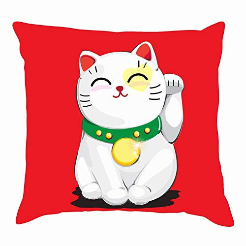 tuyi Good Lucky cat Character Animals wildlifeThrow Pillow Covers Cotton Linen Cushion Cover Cases Pillowcases Sofa Home Decor 18