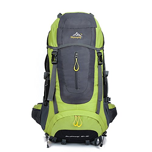 szbtf 70L Rucksack Wasserdicht Outdoor Sport Trekking Camping Pack Bergsteigen Klettern Rucksack mit Regenschutz Grass color