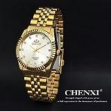 Chenxi goldene Mode Herrenuhr Edelstahl Quarz-Armbanduhr ( Farbe : Silber , Großauswahl : Einheitsgröße )