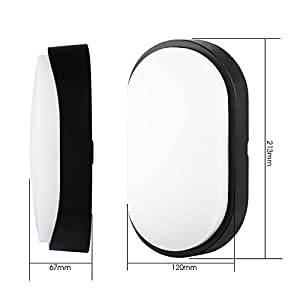10W LED 4000K IP54 Flush Wall Mounted Oval Bulkhead Light Fitting with Black Trim - Perfect for Indoor, Outdoor, Bath, Office, Kitchen, Hallway, Corridor, Utility, Garden, Shed, Workshop, Patio etc-2PACK from Chestele