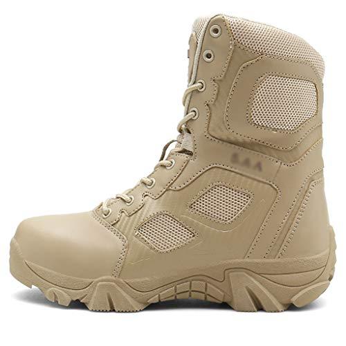 DFGRFN Scarpe tattiche Militari da Uomo Scarpe da Ginnastica di Sicurezza Scarpe da Ginnastica Alte Antiscivolo Resistenti all'Usura Calzature da Arrampicata per Camminata,Brown-43