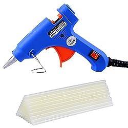 Ohuhu Heißklebepistole Klebepistole Heißluftpistole Glue Gun Hotmelt Glue Gun 20W mit 25 Stücke Hot Melt Glue Sticks Klebesticks Heißklebesticks Heißklebestifte, Blau