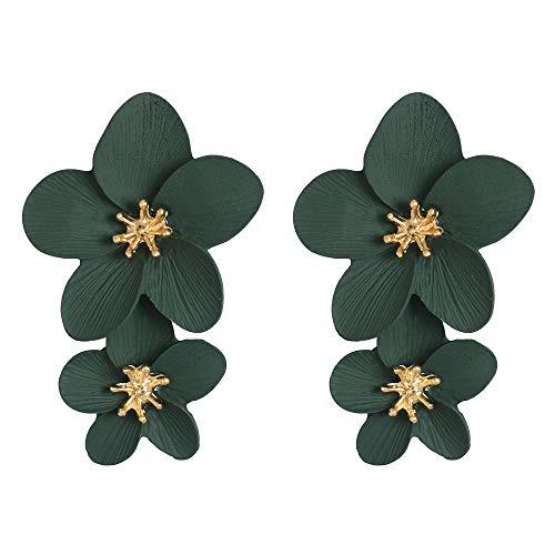 big face cat Esagerare il temperamento e la moda dei gioielli creativi da donna con tutti i tipi di fiori e orecchini, verde,