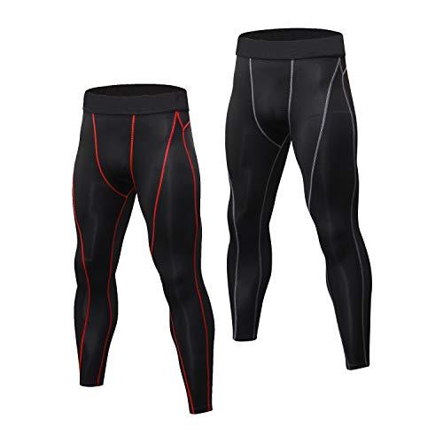Niksa Sport Leggings männer 2er pack, Herren Tight lang Quick Dry kompression Hose für Fitness Workout Gym Joggen Gr. S-XXL (Black Red(1060)*2,L)