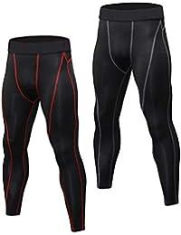 Niksa 2 Piezas Pantalones de Compresión Mallas Hombre Secado Rápido Leggings  para Running 2d22e8412a917