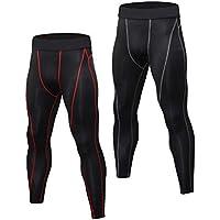 Niksa 2 Piezas Pantalones de Compresión Mallas Hombre Secado Rápido Leggings para Running, Yoga,Fitness (Black Red(1060)*2,L)