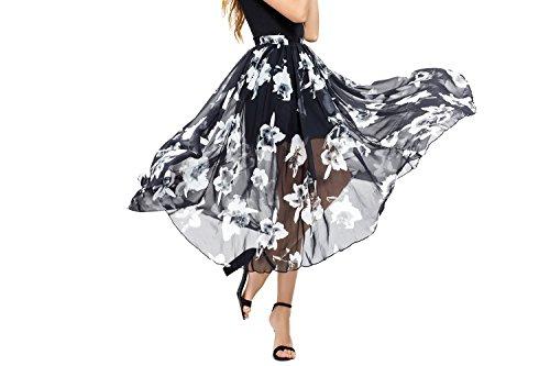 Abollria Women's Chiffon Maxi Skirts Floral Printed Elastic High Waist Long Maxi Skirt