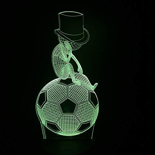 YDBDB Nachtlicht Sportart 3D Usb Led Lampe Nehmen Hut Kinder Sitzen Übung Fußball Fußball Denken Nacht Schlaf Dekor -