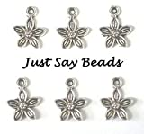 25 x Antique Silver Plated Flower Charms with Jump Ring included for attachments (Ref:10B11)