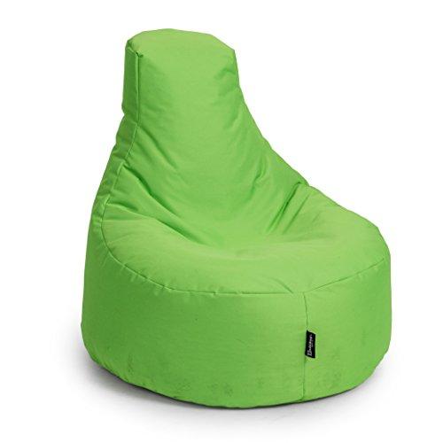 BuBiBag Gamer Kissen Lounge Sitzsack Sessel Original Sitzkissen in & Outdoor Geeignet fertig befüllt in 31 Farben (Kiwigrün)