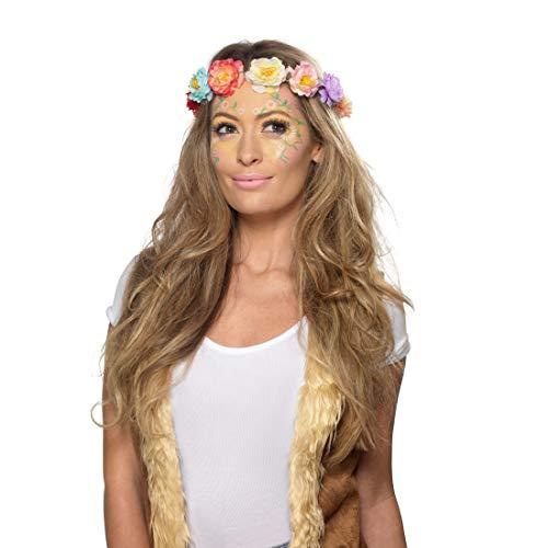 NET TOYS Aqua Schmink-Set Hippie Look | Pastellfarben | Trendy Party-Schminke Flower Power geeignet...