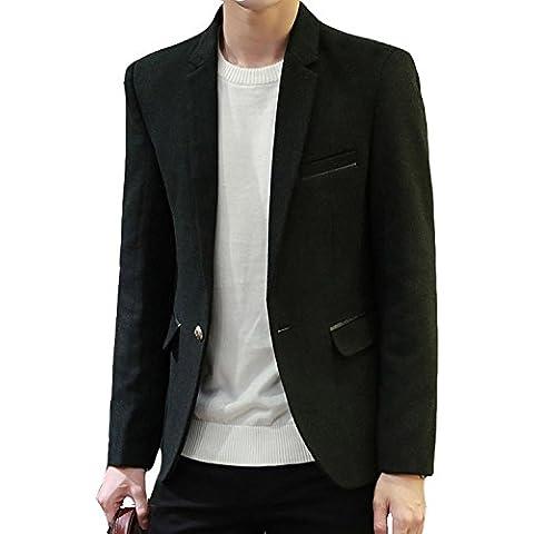 Zhuhaitf 1601# Mens Slim Fit Jackets Outerwear Casual One Button Velvet Suit Blazer (Mens Black Velvet Blazer)