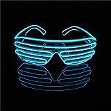 Lerway EL LED Gafas Luz de Neón Alambre Novedad Shutter + Control de Voz, Gafas para Fiestas Halloween, Navidad, Cumpleaños, Regalo (Azul)