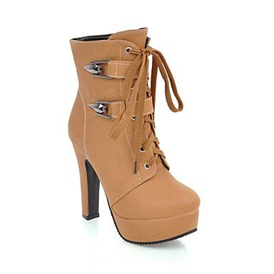 Chaussures Pour Femmes Rtry En Simili-cuir Printemps Automne Cheville Strap Bootie Bottes Bout Rond Bottines / Bottines Boucle Pour Partie Informelle Et Amp; Sera Brown Us8 / Eu39 / Uk6 / Cn39