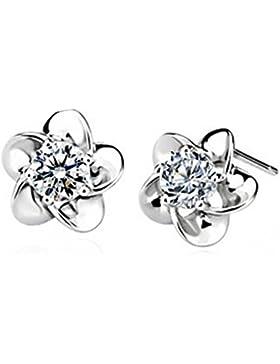 Wiftly Ohrringe Damen Maedchen 925 Sterling Silber Edel Ohtstecker Plum Blume mit Zirkonia Hypoallergen Ohrstecker